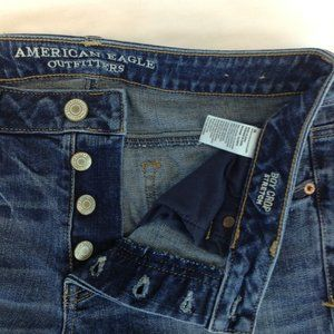 American Eagle Boy Crop Stretch Button Fly Jeans